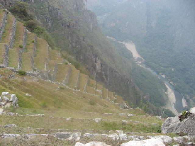 急峻な崖にある段々畑の下を流れるウルバンバ川